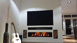 elektrische haard onder tv