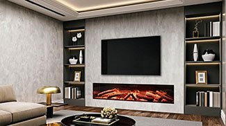 tv wand met elektrische haard