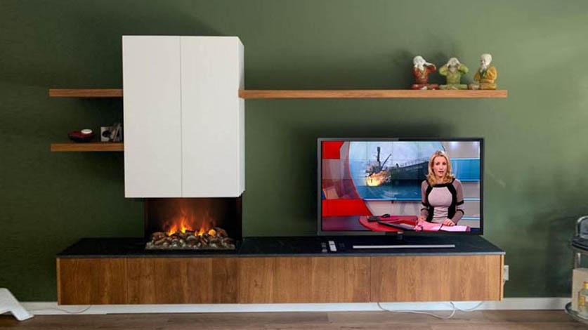 zwevend tv meubel met elektrische haard
